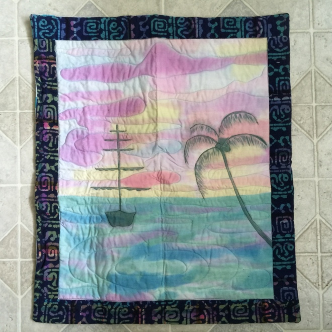 boat with palm tree quilt by Sally Eklund