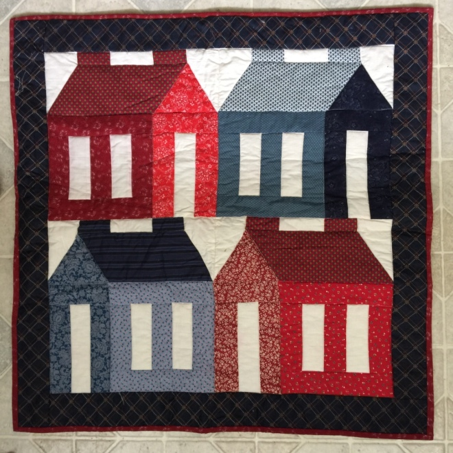four houses quilt by Sally Eklund