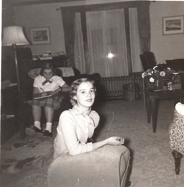 Sally Eklund (née West), with her sister, circa 1950