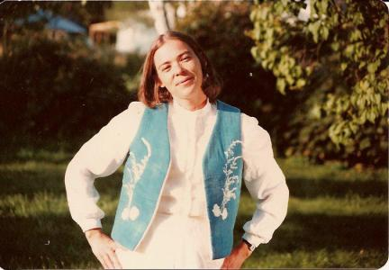 Sally Eklund wearing one of her original creations, circa 1980
