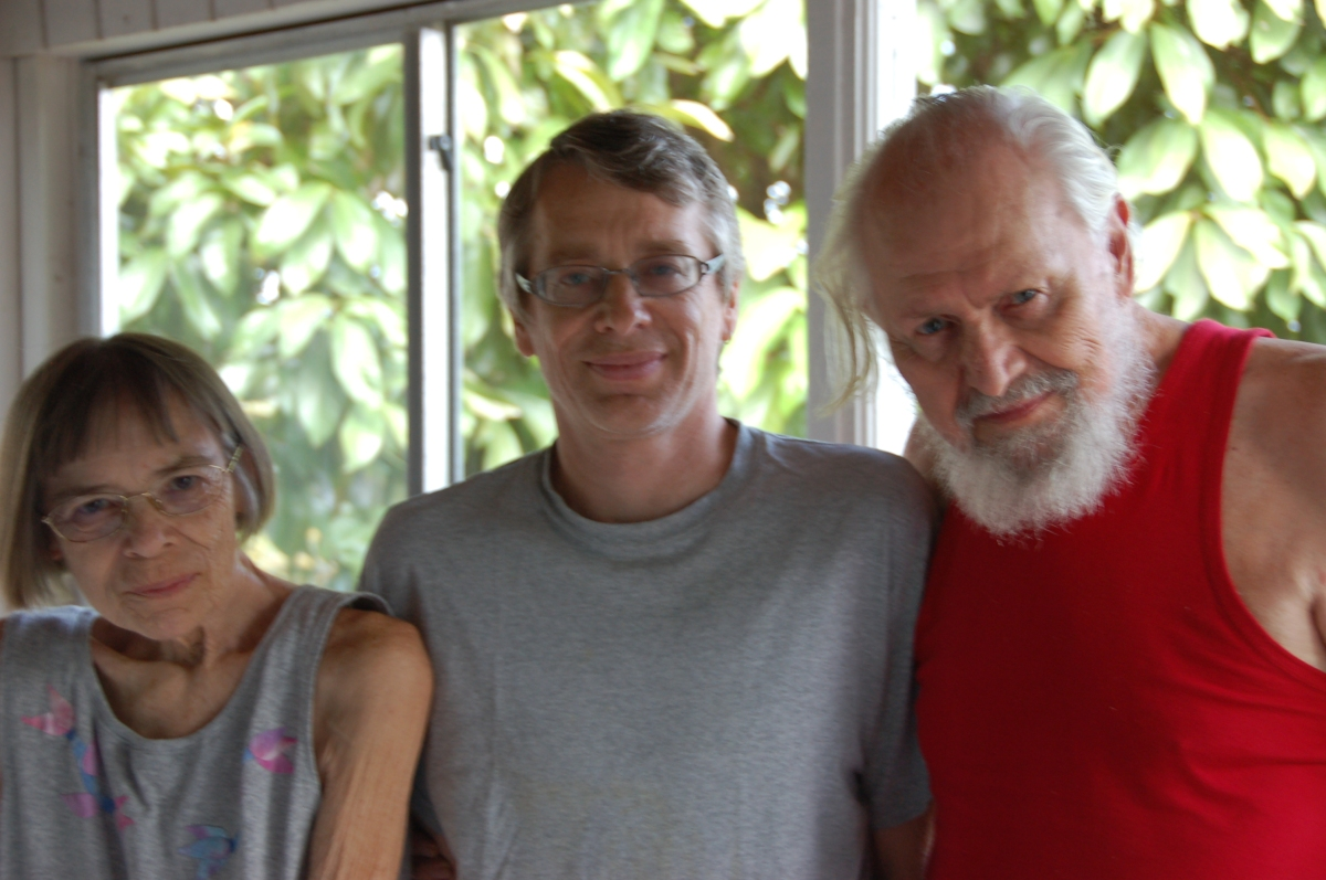 Sally Eklund with her oldest son and husband in 2013