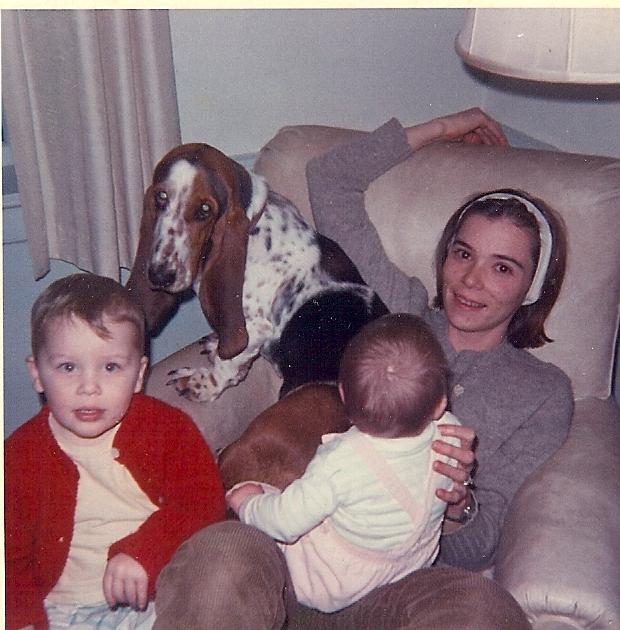 Sally Eklund with her two oldest children and family basset hound, circa 1968