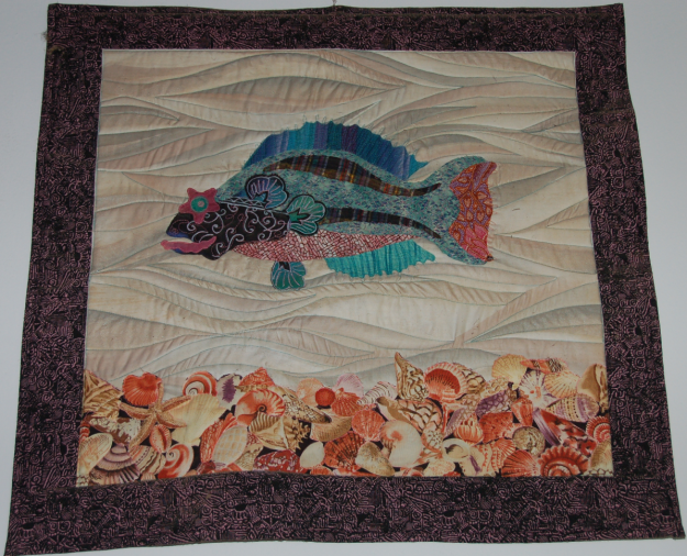 Asian-Carribean fish applique with Batik border by Sally Eklund