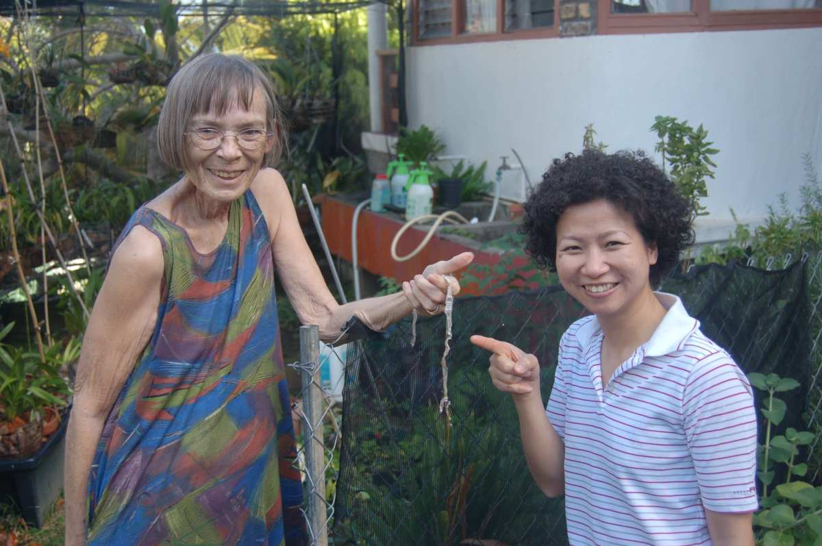 with daughter-in-law in island garden in 2010