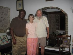 Sally, husband, and friend in 2013