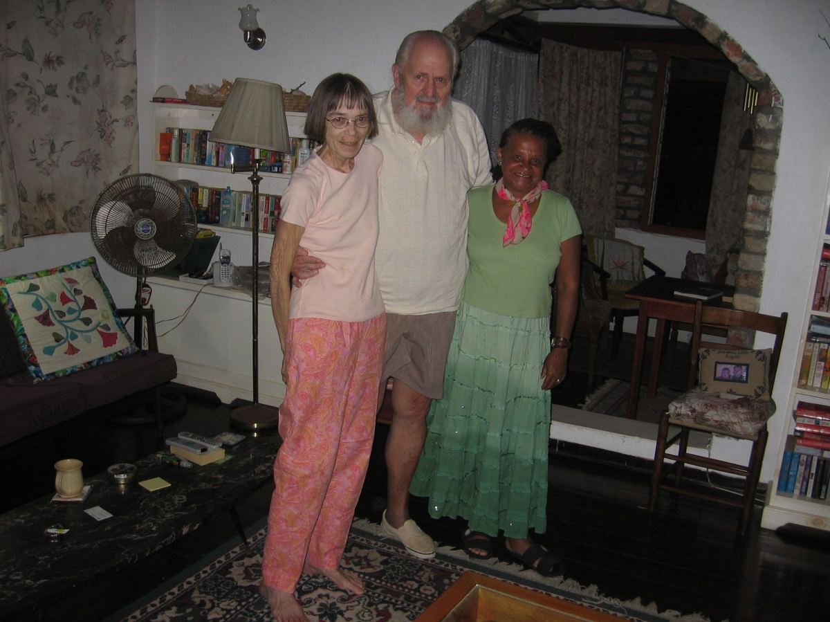 with husband and friend Cheryl in 2013