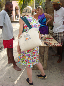 Sally shopping in St. Vincent in 2008