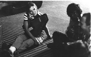 Sally with autoharp at Southeastern Massachusetts University in the 1980s
