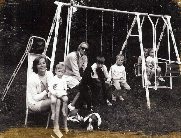 with daughter, sister-in-law of husband's older brother, and her three children, and older son in mid-1960s