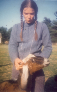 Sally with goat on farm in Myricks in the 1980s or so