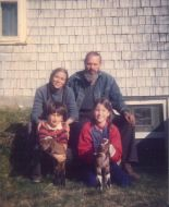 with husband, youngest two children, and pet goats in the 1980s