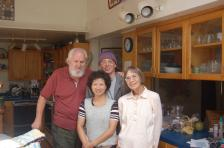 with husband, older son, and daughter-in-law in 2008
