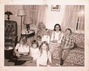 Sally with two oldest kids and companion of husband's youngerest brother and her daughters in the early 1970s