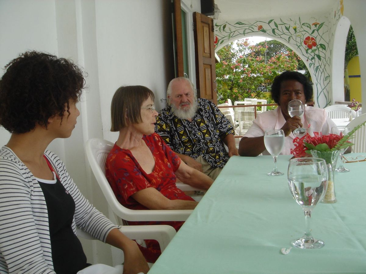 with daughter-in-law, husband at friend Shirley's hotel-restaurant in 2006