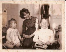 with two oldest children in late 1960s