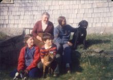 with youngest two children, mother-in-law and some family pets in the late 1970s