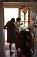 working in the kitchen in 2008